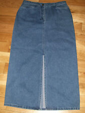 Casual Corner Modest Long Denim Blue Jean Skirt Front Split Womens Sz 6, 31 x 34