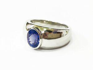 Natürliche Tansanit Edelstein Mit 925 Sterlingsilber Ring für Herren #1581