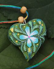 2 Sided Green Hand Carved Alebrijes Heart Pendant Love Token Mexican Folk Art