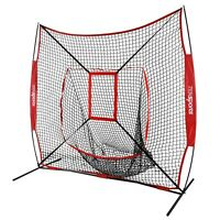 7×7' Baseball Softball Practice Hitting Batting Training Net Bow Frame Bag Red