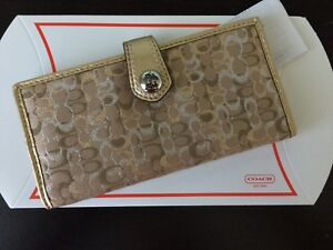 Authentic Coach Brown Gold Silver Logo Slim Credit Card Wallet Snap Closure NWT