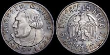 Germany. Silver 5 Reichsmark, 1933 A. Martin Luther.