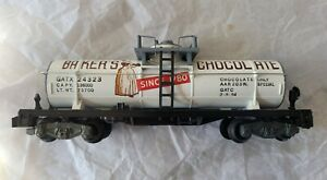 Gilbert American Flyer 24323 Baker's Chocolate Tank Car with Gray Ends * CLEAN