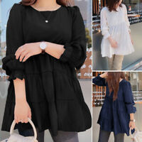 UK New Womens Casual Crew Neck Tops Ladies Long Sleeve Blouse Shirt Plus Size