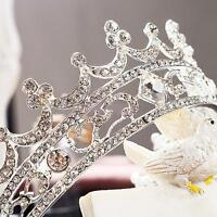Round Wedding Prom Bridal Crown Full Crystal Rhinestone Tiaras Hair Jewelr