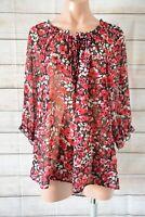Sara Tunic Top Blouse Size XL  Red White Black Floral three-quarter Sleeve
