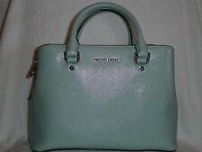 NWT MICHAEL KORS Saffiano Leather Medium Savannah Satchel Silver/Celadon $348