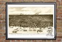Vintage Detroit, MI Map 1889 - Historic Michigan Art - Old Victorian Industrial