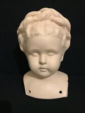 """Vintage 1960s Japan Bisque Molded Hair 8"""" Girl Doll Head and Shoulders"""