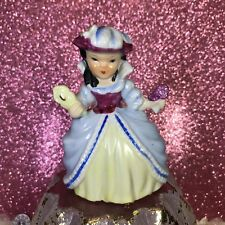 Vtg French Girl Holding Flowers & Mirror In Feather Hat Valentine Figurine Japan