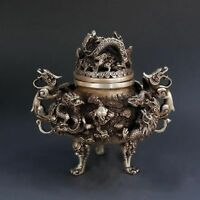 China Exquisite Tibet Silver 9 Dragon Beast Lion Head Incense Burner Statue