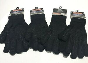 4 pairs Gripper Gloves One Size  Adult Full Fingers Black Acrylic Knit Magic