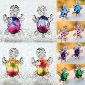 Luxury Oval Gradient Colorful Zircon Turtle Ear Stud Women Earrings Jewelry Gift