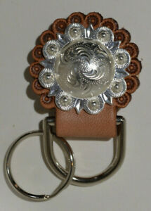 "Concho Key Fob - 1 1/2"" Silver Berry Concho with Key Ring (J6)"