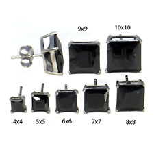 925 Sterling Silver Square Black Simulated Diamond Single Stud Mens Earring Gift