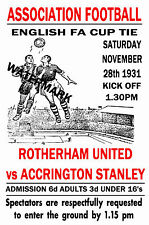 ROTHERHAM UNITED - VINTAGE 1930's STYLE MATCH POSTER