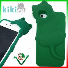 Custodia cover silicone KIKI gatto VERDE SMERALDO pr iPhone 4 4S case flessibile