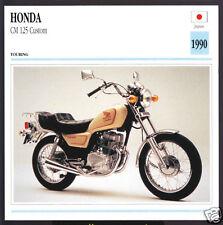 1990 Honda CM 125cc Custom Japan Bike Motorcycle Photo Spec Sheet Info Stat Card