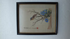 Antique Vintage Beautiful  Chinese Watercolor Framed Silk Painting Signed !