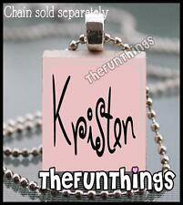 Custom Scrabble Tile Necklace Pendant Soft Pink Back Personalized Name 01
