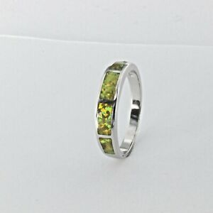Size 9 - Yellow lab FIRE OPAL Square Band Ring 925 STERLING SILVER Rhodium #2071
