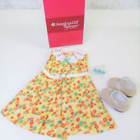 NEW American Girl Doll Clothes KIT FLORAL DRESS OUTFIT Shoes Belt Green Barrette