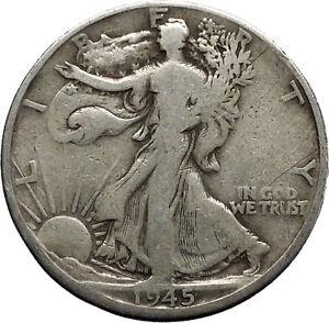 1945 WALKING LIBERTY Half Dollar Bald Eagle United States Silver Coin i45132