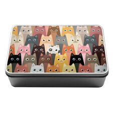 Cartoon cats cute pattern kitty lover Metal Storage Tin Box 136