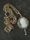 Antique Opaque Opalescent Glass Cameo Pendant Reset In Vintage Setting