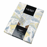"""Ralph Lauren Paisley Blue and Yellow  60""""x120"""" Oblong Cotton Tablecloth"""