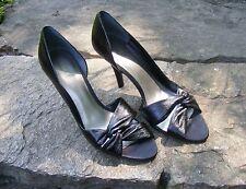 NINE WEST D'Orsay, Black Leather Peep Toe High Heels, Size 10 M