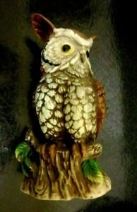 Vintage 70's  Oriental Bisque Pottery Hand Painted Owl Figurine 7 X 4.5