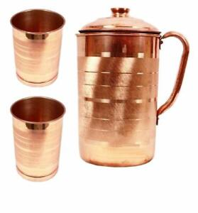 100% Pure Copper Water Pitcher Jug and 2 Tumbler Set for Ayurveda Health Benefit