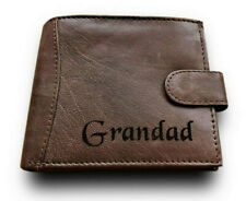 Mens Personalised Real Leather Wallet Christmas Gift Grandad Grandfather Grandpa