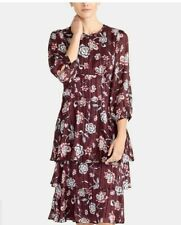 Rachel Roy Womens Sz 14 Royal Orchid Floral Print Ruffled Midi Dress 3/4 Sleeve