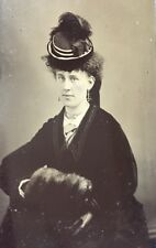 Sixth Plate Tintype Perky Lady Hat Gloves Earrings Clutch