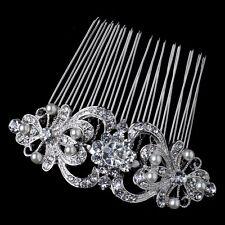 Bridal Wedding Comb Silver Rhinestone Heart & Diamond White Pearl Ribbon