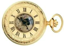 Pocket Watch Gold Plated Ornate Half Hunter with 17 Jewel Movement - Gift