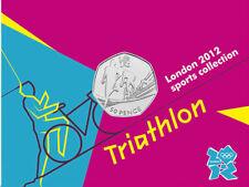 2012 50p OLYMPIC 25/29 TRIATHLON COIN ON CARD BRILLIANTLY UNCIRCULATED !