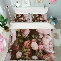 3D Pink Rose Quilt Cover Duvet Cover Comforter Cover Single/Queen 4