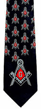 Red Compass Mens Necktie Fraternal Freemasons Square Masonic Blue Neck Tie New