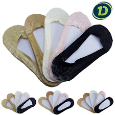 Women's Invisible Low Cut Non Slip Cotton Fashion Lace Socks Antiskid No Show