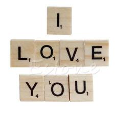 100 Wooden Black Scrabble Tiles Alphabet Letters & Number Craft Wood Board Game
