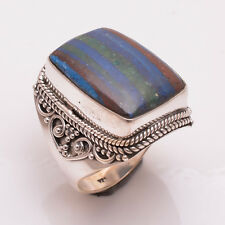 925 Sterling Silver Ring Size US 9, Natural Rainbow Calsilica Jewelry R3137