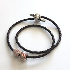 PERSONA Leather Bracelet 2 Charms Brown Braided Double Wrap Silver & Pink Beads