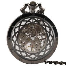Steampunk Mechanical Hand Wind Men Pocket Watch Skeleton Antique Chain Gifts
