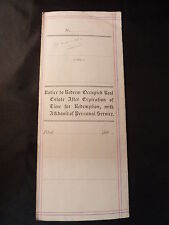 Antique 1888 Notice To Redeem Property For Non Payment Of Taxes San Mateo