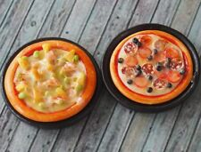 Dollhouse Miniatures 2 Handmade Pizza on Black Tray Food Deco Supply Barbie B001