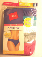 6 Pack Hanes Size 8 X Large Cotton Thong Panties Cool Comfort Women's Sexy Lav