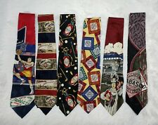 Lot of 6 Novelty Tabasco NECK TIES Various Themes, Basketball, Baseball, Golf